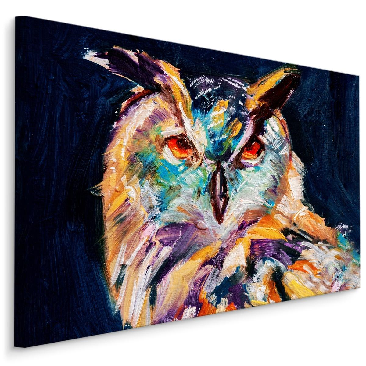 Schilderij - Geschilderde uil, print op canvas, 4 maten, scherp geprijsd, wanddecoratie -  1 luik - 90x60 cm