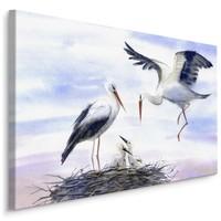 Schilderij- Ooievaar met nest, Aquarel kleuren, 4 maten, scherp geprijsd