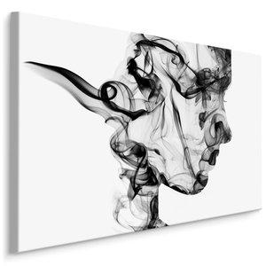 Schilderij - abstracte vrouw uit rook, zwart/wit, 4 maten, wanddecoratie