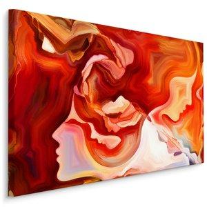 Schilderij - rode abstractie met gezicht, 4 maten, wanddecoratie