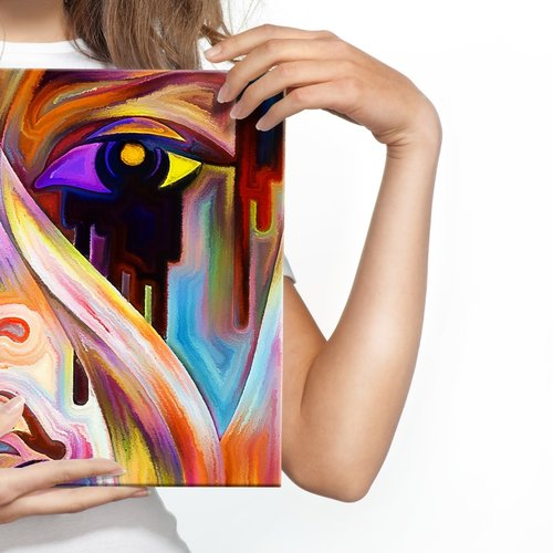 Schilderij - Abstract gezicht close up, 4 maten, multikleur, hoge kwaliteit scherp geprijsd,