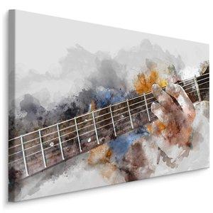 Schilderij - abstracte gitaar in handen, 4 maten, hoge kwaliteit canvas zeer scherp geprijsd