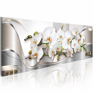 Schilderij - Orchidee , wit zilver look , 120x40cm