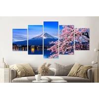 Karo-art Schilderij - Kersenbloesem en mount Fuji, 5 luik, 200x100cm  Wanddecoratie, premium print