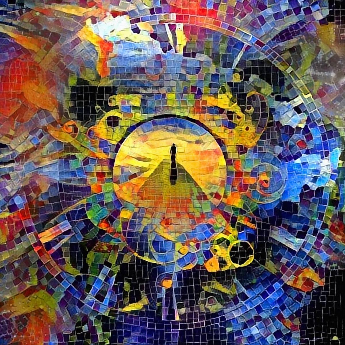 Schilderij - Op weg naar de eeuwigheid, Mozaïk, 2 maten, canvas wanddecoratie -  1 luik - 100x100 cm
