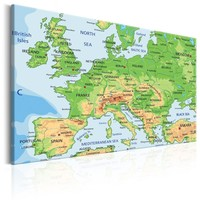 Schilderij - Kaart van Europa , Wanddecoratie , 120x80cm