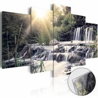 Afbeelding op acrylglas - Waterval van je dromen, Grijs/Groen,   5luik , 100x50cm