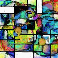 Karo-art Schilderij - Geometrisch abstract in levendige kleuren, premium print