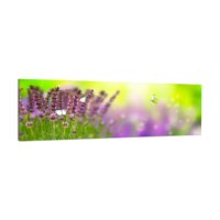 Karo-art Schilderij -Lavendel en vlinders, 120x40cm. Wanddecoratie, premium print