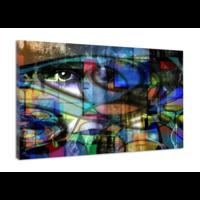 Karo-art Schilderij - Abstract modern, het oog , 3 maten , multikleur , Premium print