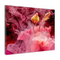 Karo-art Schilderij - Abstracte bloemknop, roze, geel , 3 maten , premium Print