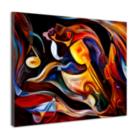 Karo-art Schilderij - Abstract Muziek , Multikleur , 3 maten , Wanddecoratie