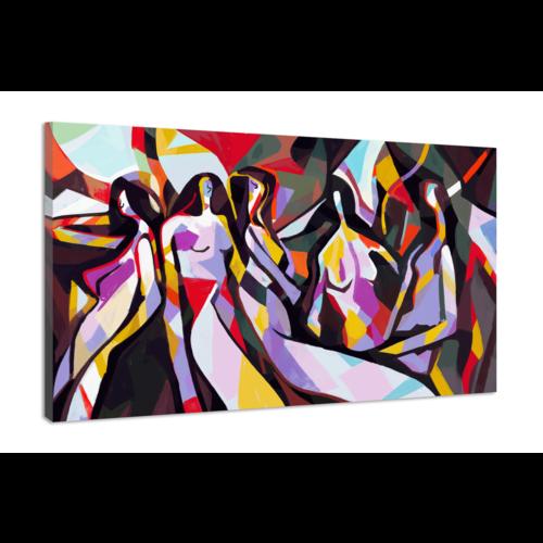 Karo-art Schilderij -Abstracte vrouw met primaire kleur, Picasso en Mondriaan stijl, 2 maten