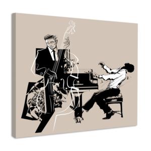 Karo-art Schilderij - Contrabas en piano speler, jazz, premium print