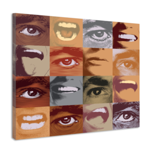 Karo-art Schilderij - patroon van menselijke monden en ogen, een echte eycatcher aan de muur