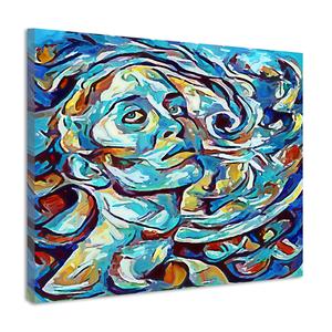 Karo-art Schilderij - Menselijke gelijkenis weergegeven met abstracte kleurvakken, 2 maten, print op canvas