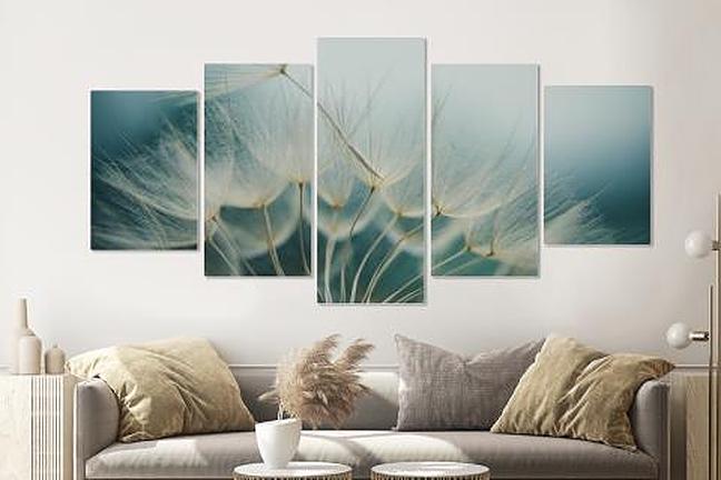 Afbeelding op acrylglas -Paardenbloemen zaadjes, 5 luik, 2 maten, premium print