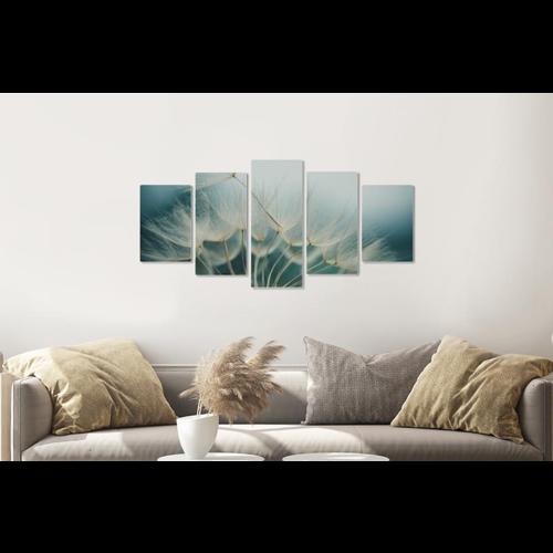 Karo-art Afbeelding op acrylglas -Paardenbloemen zaadjes,  5 luik, 2 maten, premium print