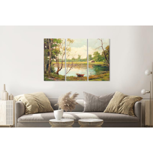 Karo-art Schilderij - Boot op meer, print op canvas , Multikleur , 3 luik , Premium print