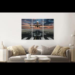 Karo-art Schilderij - Opstijgend vliegtuig, 120x80cm , Multikleur , 3 luik , Premium print