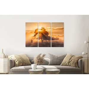 Karo-art Schilderij - Zonsopkomst door de bomen, 120x80cm , Oranje bruin , 3 luik , Wanddecoratie