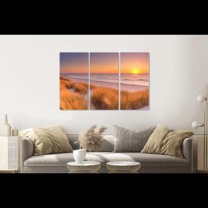 Karo-art Schilderij - Duinen en strand bij zonsondergang  Texel, 120x80cm ,  3 luik , Wanddecoratie