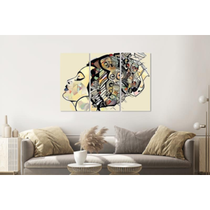 Karo-art Schilderij -  Afrikaanse vrouw, 120x80cm, 3 luik, premium print