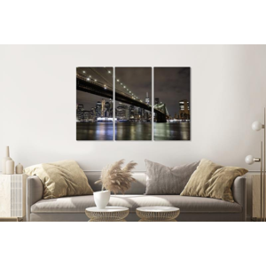 Karo-art Schilderij -  Brooklyn Bridge in de avond, NYC, 120x80cm, 3 luik, premium print