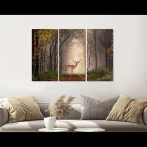 Karo-art Schilderij -  Hert in het bos, 120x80cm, 3 luik, premium print