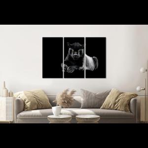 Karo-art Schilderij -  Zwarte panter, 120x80cm, 3 luik, premium print