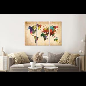 Karo-art Schilderij -  Artistieke wereldkaart in kleuren, 120x80cm, 3 luik, premium print