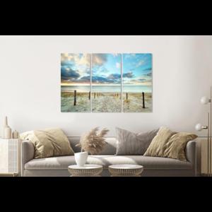 Karo-art Schilderij -  Duik in de Noordzee, 120x80cm, 3 luik, premium print