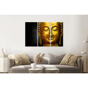 Karo-art Schilderij -  Gouden Boeddha, 120x80cm, 3 luik, premium print