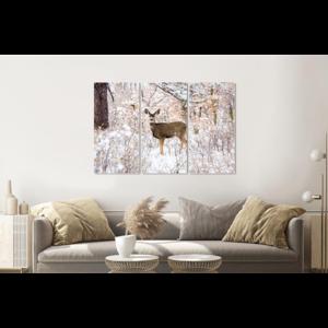 Karo-art Schilderij -  Hert in de winter, 120x80cm, 3 luik, premium print