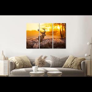 Karo-art Schilderij -  Hert in de ochtend, 120x80cm, 3 luik, premium print
