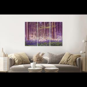 Karo-art Schilderij -  Magisch bos, paars, 120x80cm, 3 luik, premium print