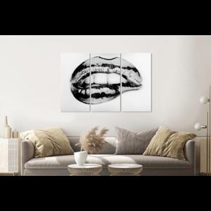 Karo-art Schilderij -  Metallic lippen, zwart/wit, 120x80cm, 3 luik, premium print