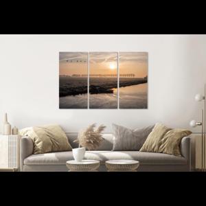 Karo-art Schilderij -  Ochtend in de polder, Hollands landschap, 120x80cm, 3 luik, premium print