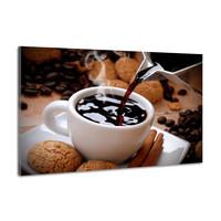 Karo-art Schilderij -Hete koffie met koekjes, 100x70cm  Premium print
