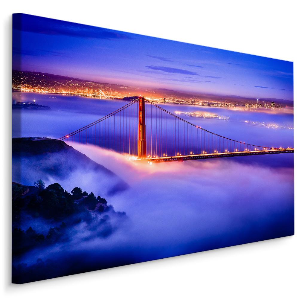 Schilderij Golden Gate Bridge in de avond, blauw/paars, 4 maten, premium print