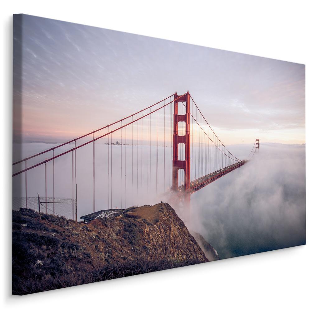 Schilderij - Golden Gate Bridge in de mist, multi-gekleurd, 4 maten, premium print