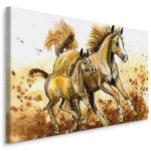 Schilderij - Veulen en merrie (print op canvas), bruin/beige, 4 maten, wanddecoratie