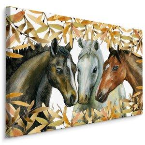 Schilderij - 3 Paarden (print op canvas), multi-gekleurd, 4 maten, wanddecoratie