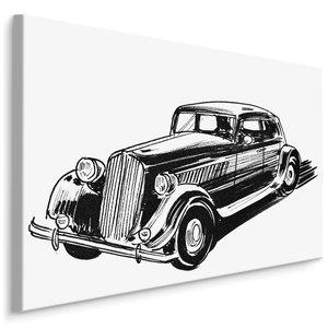 Schilderij - Geschetste Oldtimer (print op canvas), zwart-wit, 4 maten, wanddecoratie