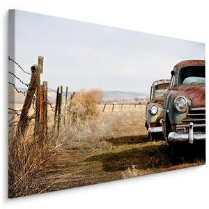 Schilderij - Vintage auto's, bruin/blauw, 4 maten, wanddecoratie