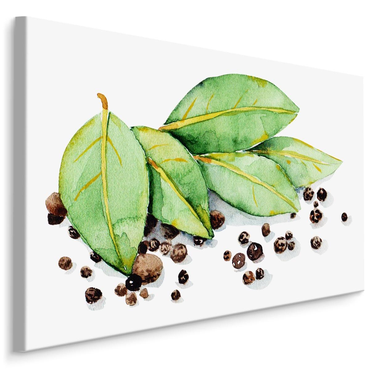 Schilderij - Laurierbladeren en kruiden (print op canvas), groen/bruin, 4 maten, premium print