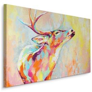 Schilderij - Kleurrijk hert (print op canvas), 4 maten, wanddecoratie