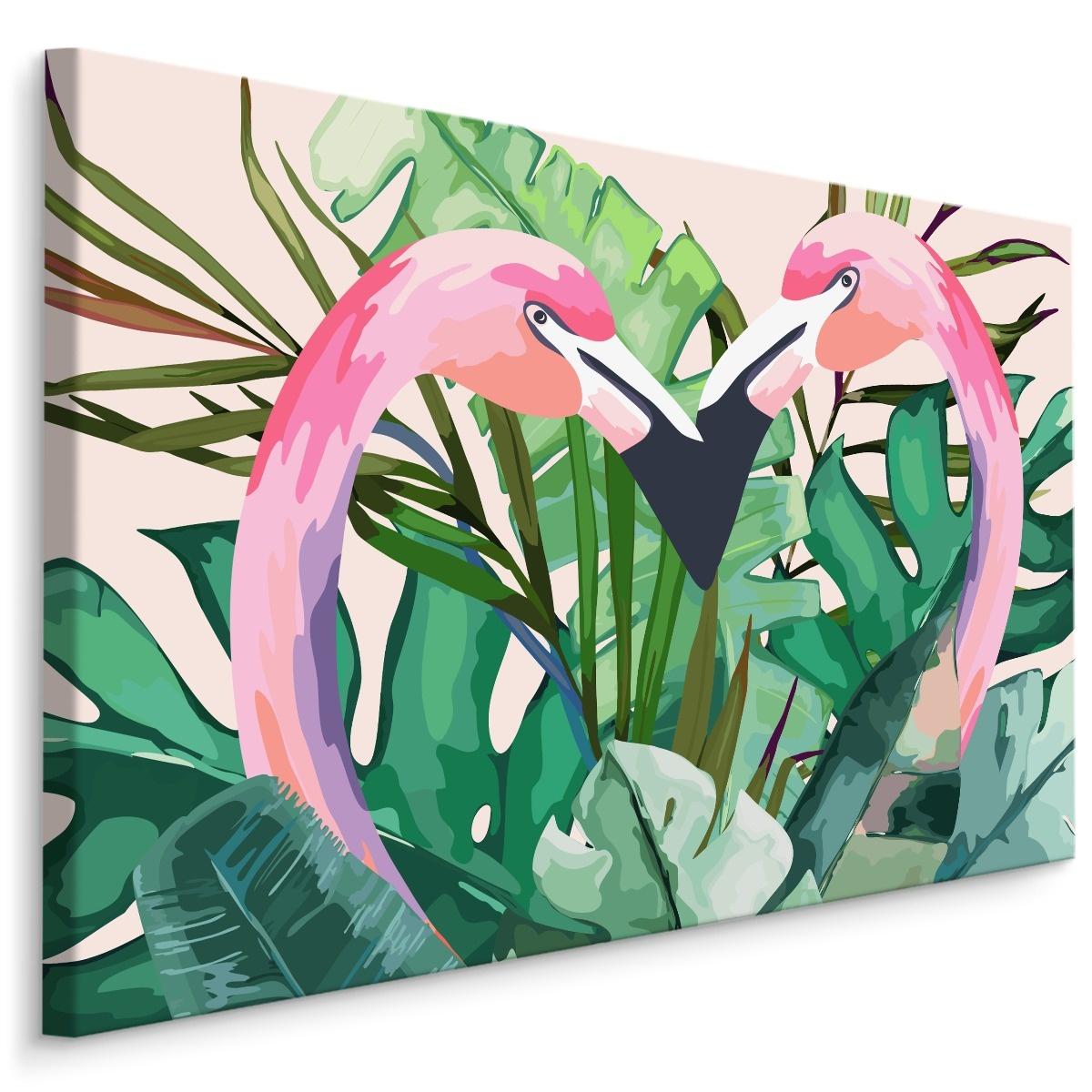 Schilderij - Flamingo's tussen tropische bladeren (print op canvas), roze/groen, 4 maten, premi
