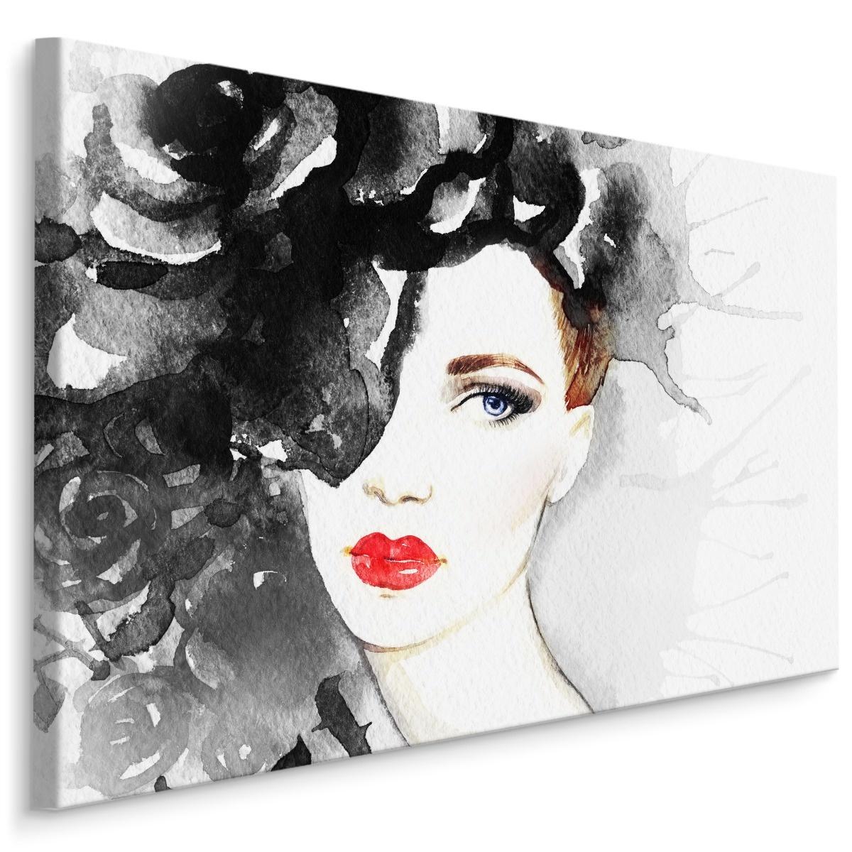 Schilderij - Vrouw in Aquarel (print op canvas), multi-gekleurd, 4 maten, premium print