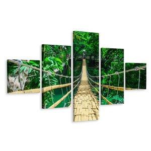 Schilderij - Bamboe loopbrug in een tropisch woud, 5 luik, premium print